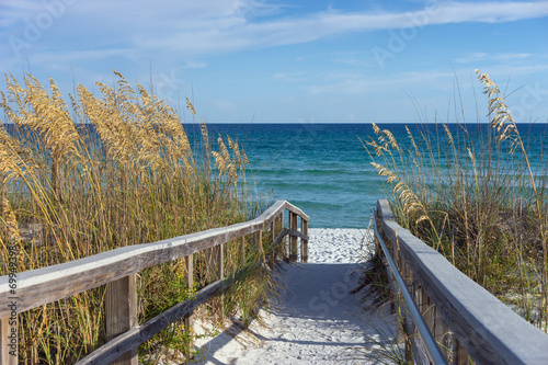 Poster Eiland Beach Boardwalk with Dunes and Sea Oats