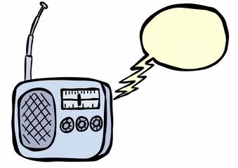 doodle radio and speech bubble