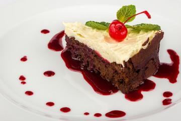 chocolate cake with mascarpone and cherry