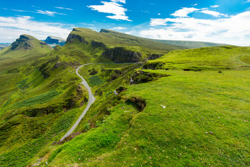 The beautiful Quiraing mountains on the Isle of Skye, Scotland