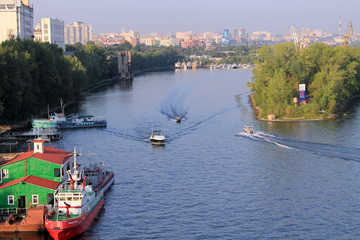 Samara, Russia, August 15, 2014: the ships. Ships float on the r