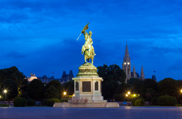 Monument dedicated to Archduke Charles of Austria at night
