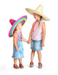 Two little girls with mexican sombrero.