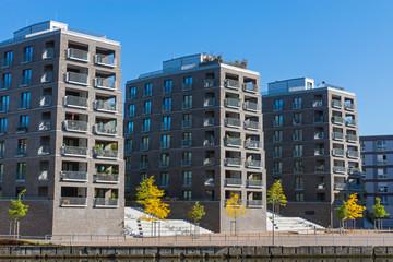 Big residential buildings seen in Hamburg, Germany