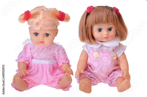 Girls dolls sitting in colorful dress - 69950970