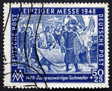 Postage stamp GDR 1948 Arrival of Clothmakers from Abroad poster