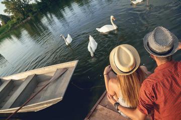 Young Couple Enjoying Near River