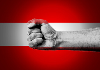 Flag Of Austria Painted On A Man's Fist