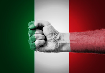 Flag Of Italy Painted On A Man's Fist