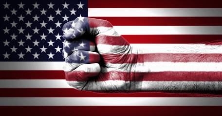 Flag Of USA Painted On A Man's Fist
