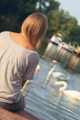Young Girl Enjoying Near River