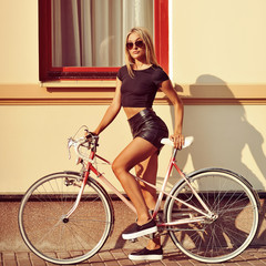 Sexy woman on a bicycle