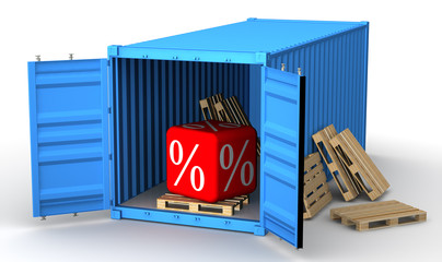 Кубик с символами процента в открытом грузовом контейнере