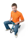 Curious man on a children's bicycle on white background