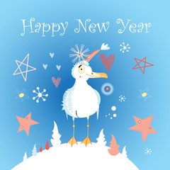 winter card with a cheerful seagull