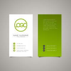 Modern simple vertical business card template