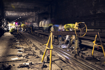 old dark subway tunnel rails exchange