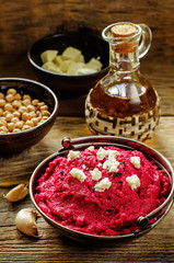 beet hummus and goat cheese