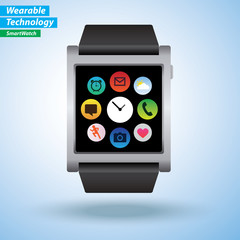 SmartWatch infographics. Apps like Phone, msg, mail