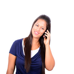 Happy Business woman talking on the phone against white backgrou
