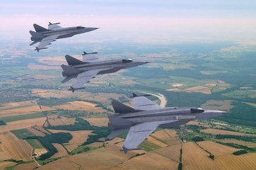 3d models of jet fighters flying above the rural landscape
