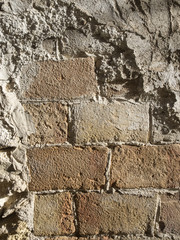 Téxturas sobre una pared de ladrillos antigua
