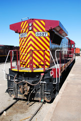 A diesel-powered locomotive at Alamosa station, CO, USA