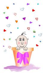 Bebé metido en maceta y corazones
