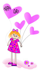 Niña con globo de Happy day