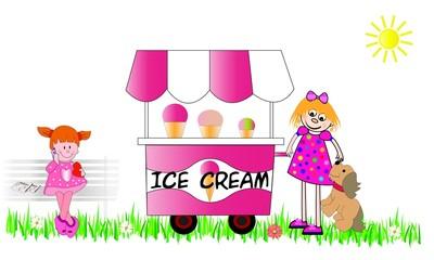 Niñas y perro con carro de helados