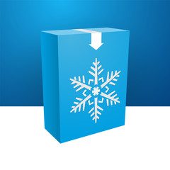 blue boxe with white snowflakes
