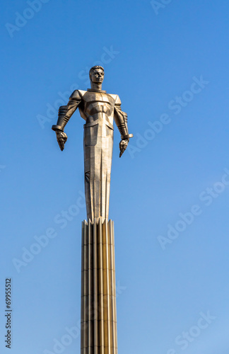 Monument to first astronaut Gagarin in Moscow