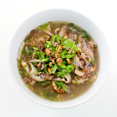 rice congee mixed with meat or rice gruel with pork, dried shrim
