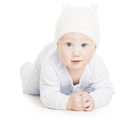 Baby Boy Portrait, Little Kid Crawling In Wolen Child Hat