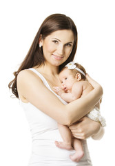 Mother Baby Girl Portrait, Woman holding Newborn Little Kid