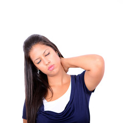 Portrait of young woman with neck pain isolated on white