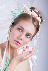 Girl with marshmallow, makeup style beauty fantasy.