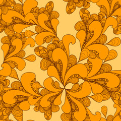 Abstract doodle seamless pattern on orange