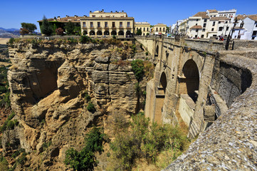 Bridge of Ronda, white village of Malaga, Andalusia, Spain.