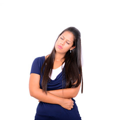 Young woman with stomach pains in studio with white background