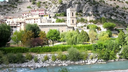 The medieval city of Entrevaux and the Var river, France