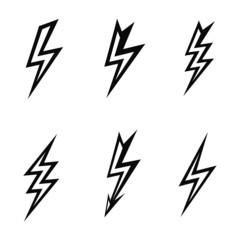 lightning silhouettes on white background