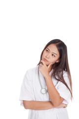 Young Asian female doctor thinking hand on chin