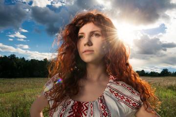 Portrait of beautiful woman in Ukrainian national dress