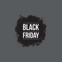 Black friday sign, grunge shape, typographic design