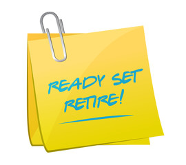 ready set retire post memo illustration design