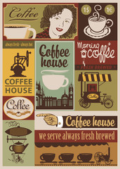 set of banners on the theme of coffee in retro style