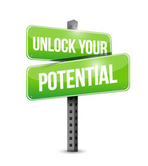 unlock your potential street sign illustration