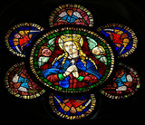 Mother Mary - stained glass in Leon cathedral - 69959396