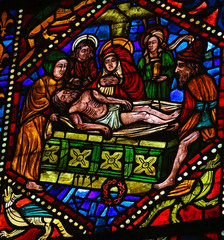 Jesus in his tomb - stained glass